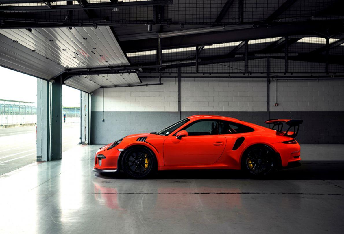 Wallpaper Porsche 911 GT3 Orange auto Side