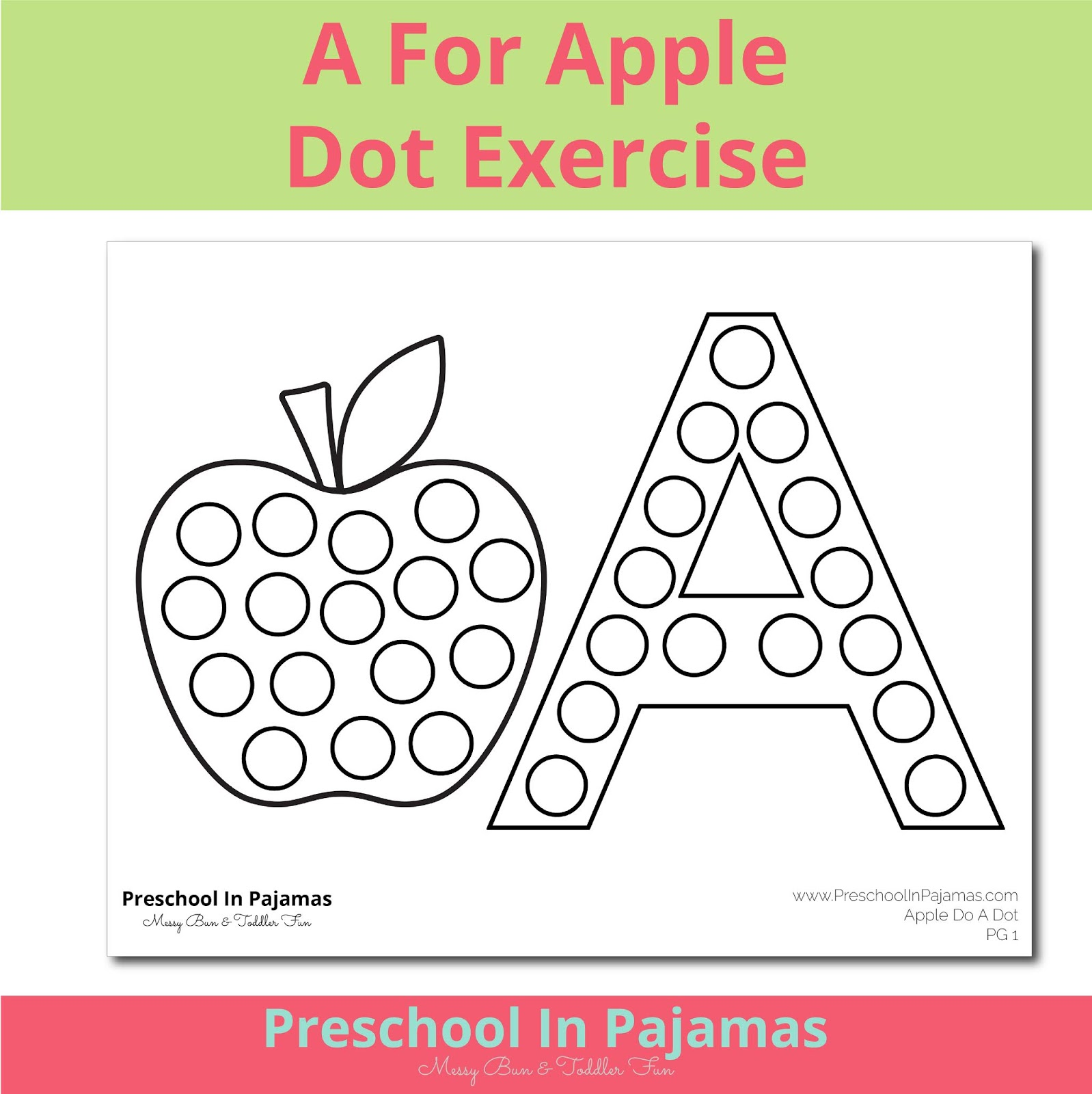 Free A Is For Apple Dot Worksheet Printable