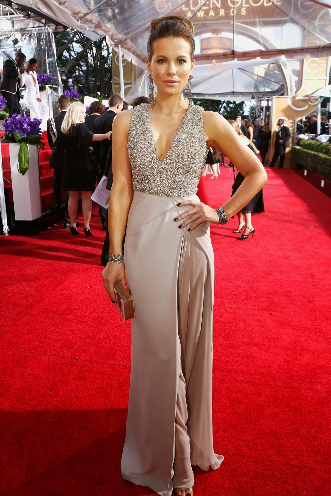 Kate Beckinsale in an Elie Saab gown at the Golden Globe Awards 2015