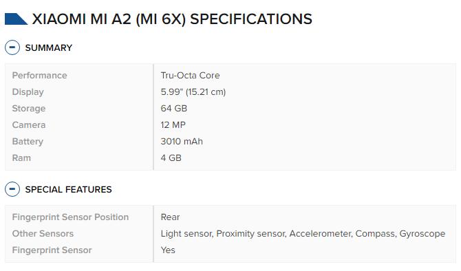 Xiaomi Mi A2 specifications
