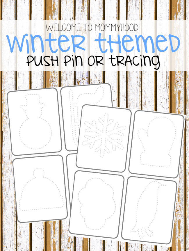 Winter activities: winter push pin or tracing cards by Welcome to Mommyhood #winteractivities, #totlabs, #preschoolactivities, #montessori