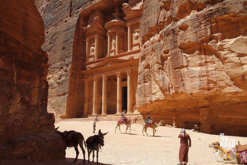 Petra Treasury and the colorful camels