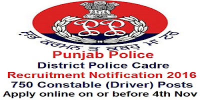 Punjab District Police Constable Recruitment 2016