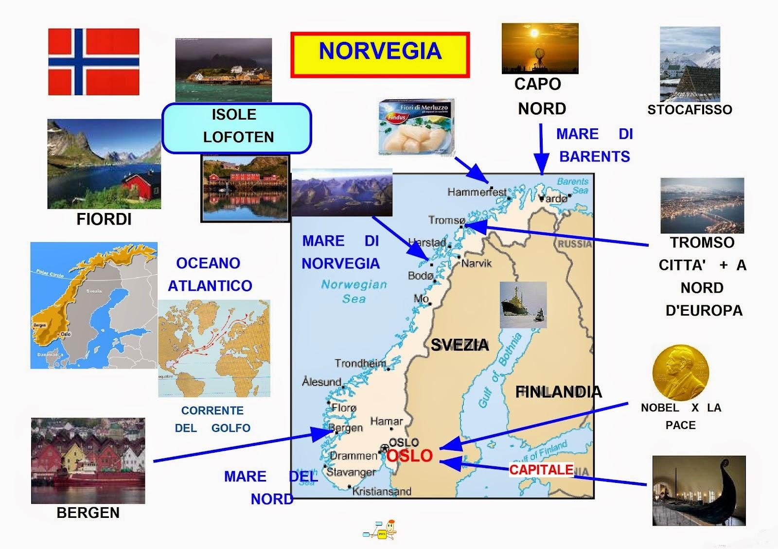 La Norvegia Cartina.Mappa Concettuale Norvegia Carta Scuolissima Com
