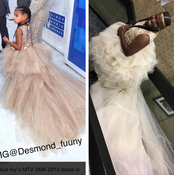 Guy dresses up like Blue Ivy for Halloween (see somebody's uncle o)