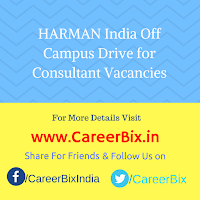 HARMAN India Off Campus Drive for Consultant Vacancies