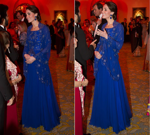 Prince William and his wife Duchess Catherine of Cambridge met with Bollywood stars at a gala dinner on the first day of their official one week visit to India.