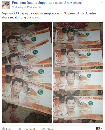 30 Peso Bill With President Duterte's Face Goes Viral! See It Here!