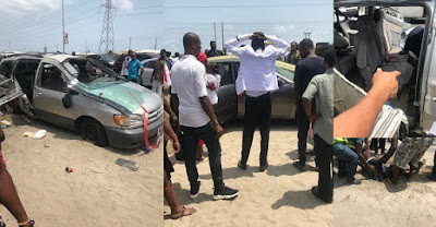 Tragedy as Groomsman dies after newly wedded couple's car tumbles thrice in Lagos