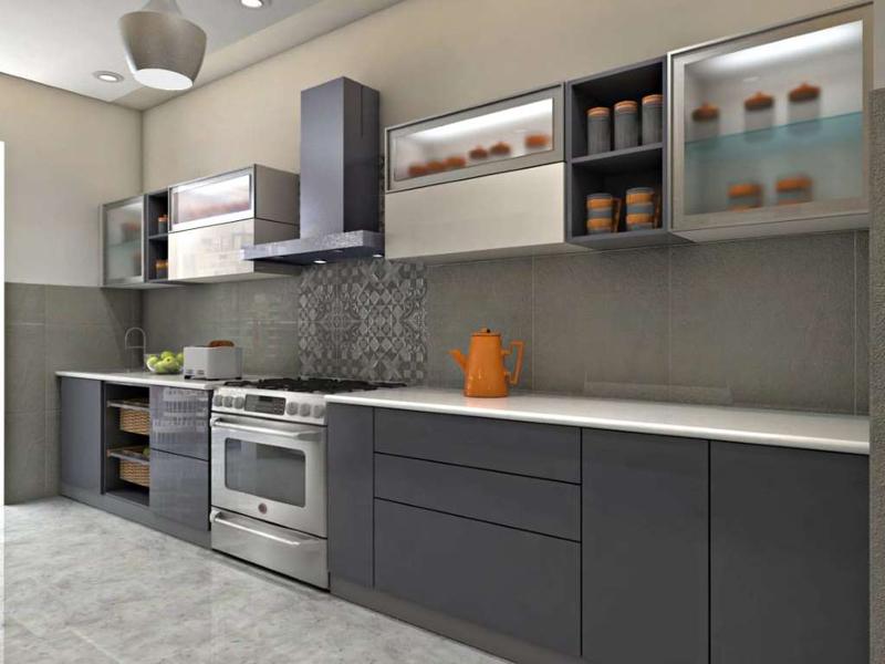 Home Architec Ideas Modular Kitchen Design Grey And White