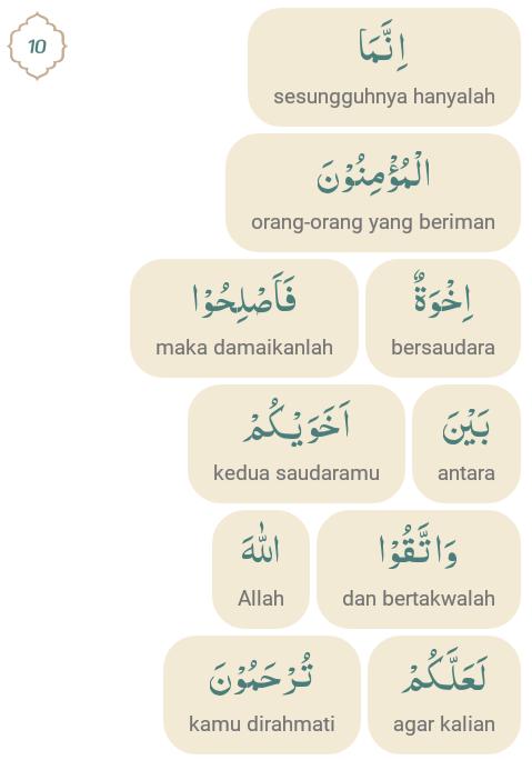 Arti Perkata Surat Al Hujurat Ayat 10 Lengkap Dengan