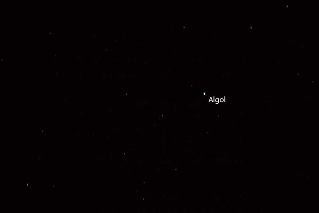 Image of Algol, 4 second exposure, 500mm telephoto lens (Source: Palmia Observatory)