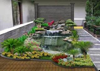 Kolam ikan hias minimalis terbaik depan rumah