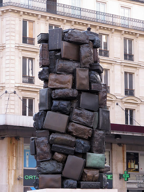 Consigne à vie, Checked Luggage for a Lifetime, by Arman, Cour de Rome, Gare Saint-Lazare, Paris