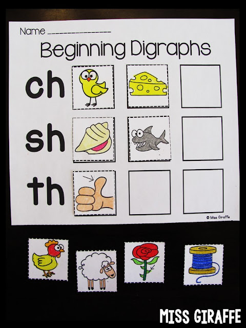 Digraphs pictures sort and other fun reading activities for digraphs - read this post!