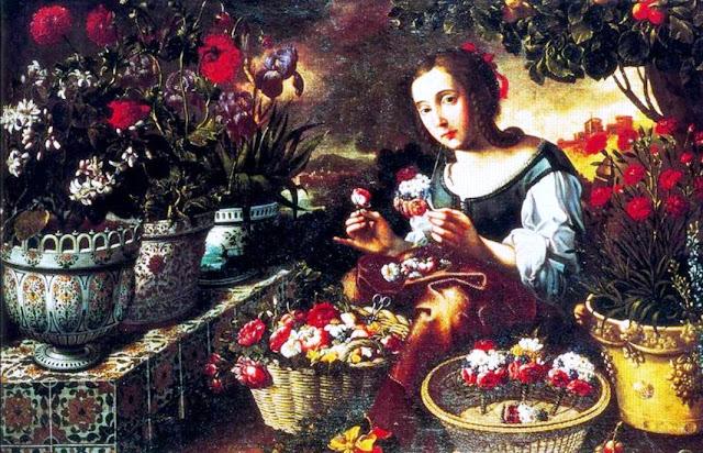 Imagen del cuadro Muchacha en el jardín haciendo ramilletes, del pintor barroco Tomás Yepes
