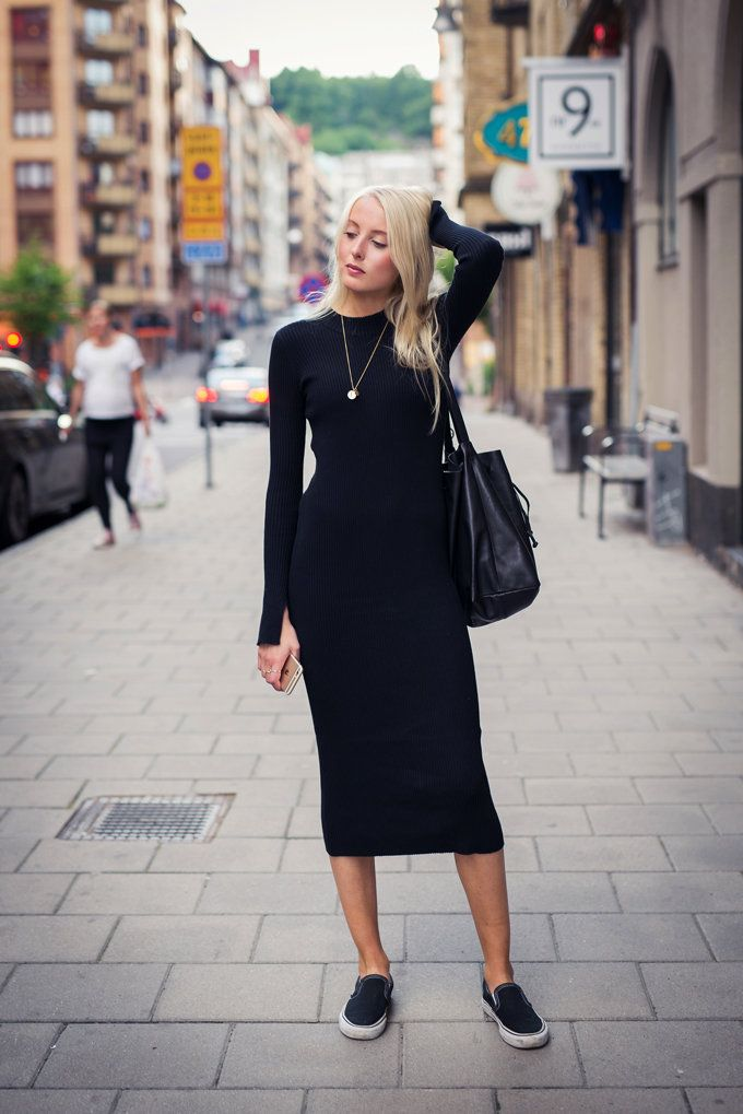 Ellen claesson - black knit long sleeve midi dress
