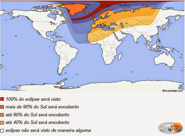 visibilidade do eclipse solar total do dia 20 de março de 2015