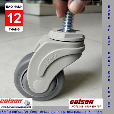 Bánh xe cao su càng nhựa Colson cọc vít phi 75 3inch   STO-3854-448 www.banhxeday.xyz