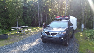 Our Uhaul Fiberglass Camper at Schoodic Woods Campground, Acadia National Park