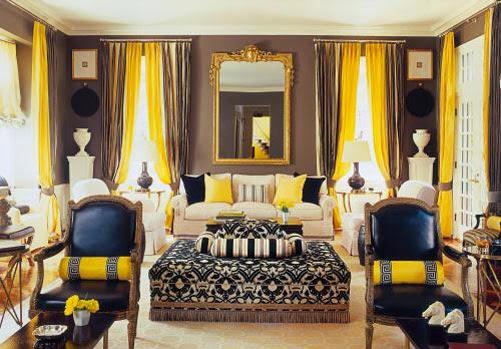 Desain Dekorasi Ruang Tamu Menarik Dengan Warna Kuning Untuk