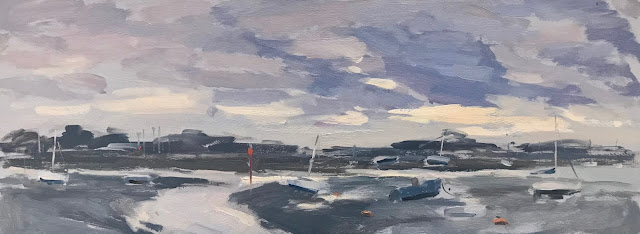 #267 'Early Morning, Emsworth Harbour' 15x40cm