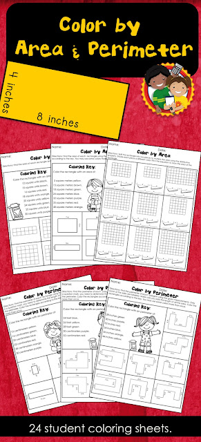 Students can use these engaging coloring sheets to practice finding area and perimeter. Different levels make differentiation easy. Use for centers, class work or homework.