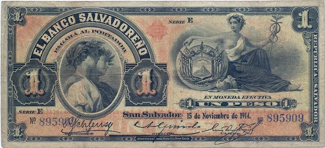 Currency Salvador Peso banknote