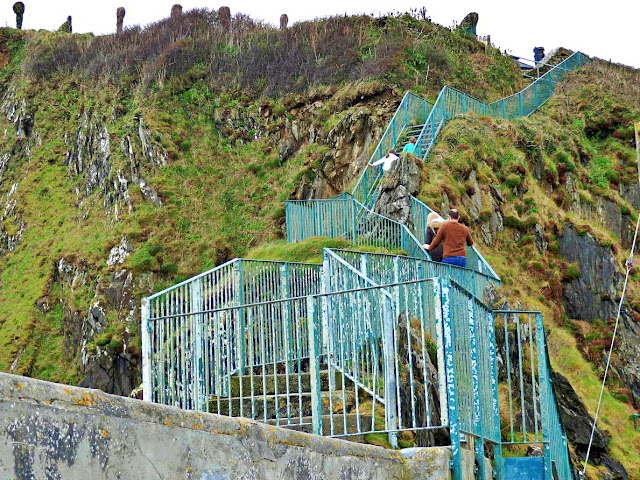 Stairs to climb cliffs at Mevagissey, Cornwall
