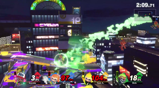 Super Smash Bros. Ultimate Moray Towers free-for-all four Inklings battle Heal Zone