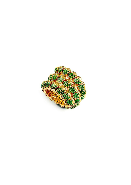 Mirari wrap spiral ring handcrafted in 18 kt Yellow Gold encrusted with round emeralds