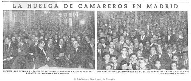 La huelga que dejó a Madrid sin camareros el invierno de 1934