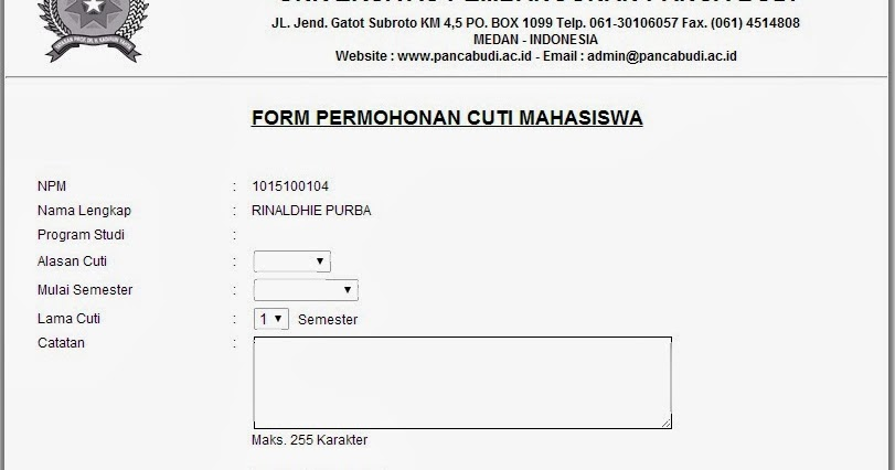 Contoh Format Surat Cuti Kuliah Akunttcom