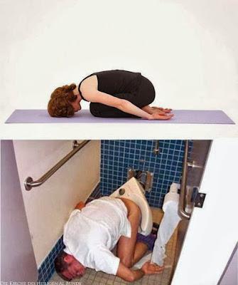 Witziges Klo Yoga Bild - eingeschlafen - Training lustig