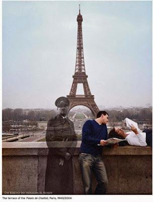 Hitler in Paris Damals und heute lustig - Liebe und Hass Bilder