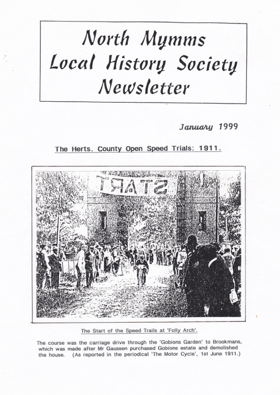 A scan of the cover of the North Mymms Local History Society newsletter for January 1999