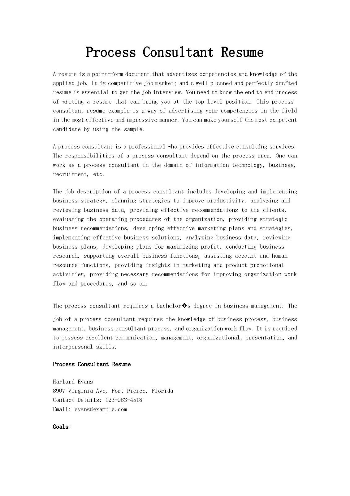 resume samples  process consultant resume