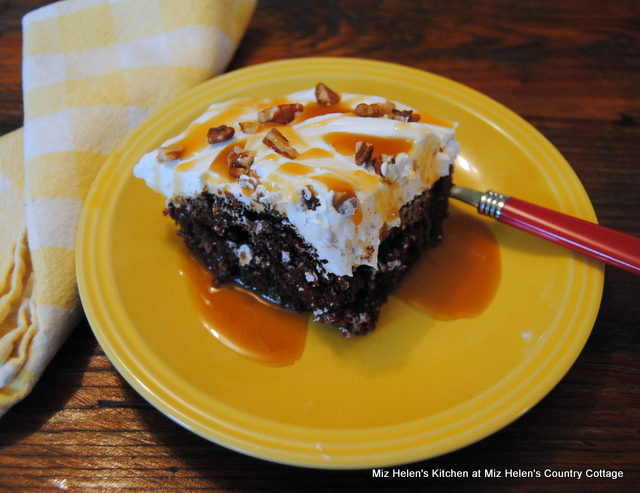 Chocolate Caramel Poke Cake at Miz Helen's Country Cottage