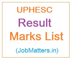 image : UPHESC Result Marks List @ JobMatters.in