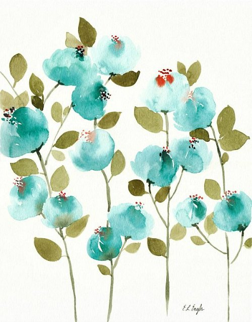 Blue Flowers Original Watercolor Painting by Elise Engh