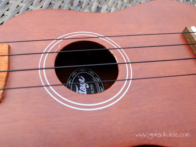 Vintage VUK20 Ukulele sound hole