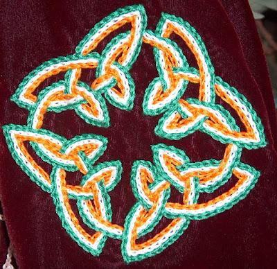 Irish flag chain stitch embroidery