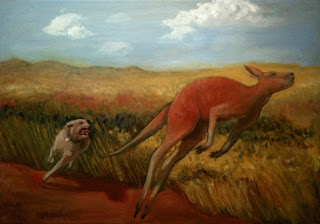 Dog Chasing a Roo - Oil and Ochre on Canvas
