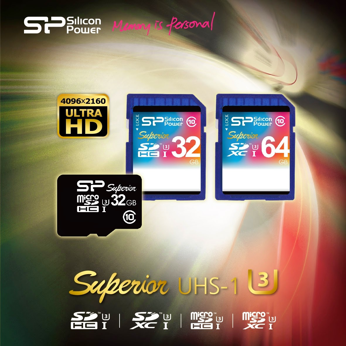 Silicon Power Superior UHS-1 (U3) SDHC/SDXC and microSDHC flash card