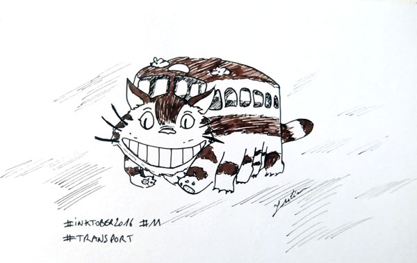 Inktober 2016 - Jour 11 - Transport - le chat-bus de l'animé Totoro