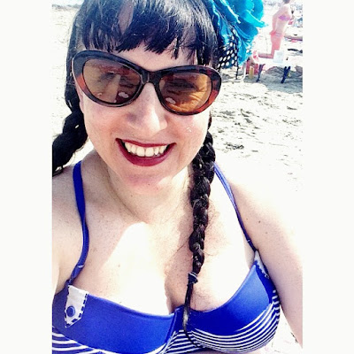 Bridget Eileen Plus Size Pin Up in Striped Bikini Top from BareNecessities,com at Hampton Beach, NH