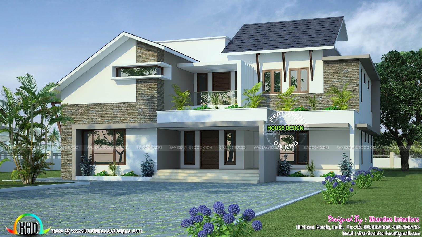 Grand modern residence kerala home design and floor plans for Grand designs modern house