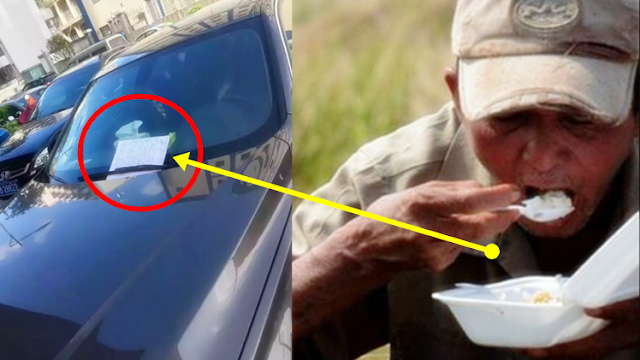 Poor Old Man Accidentally Scratches a BMW and Leaves a Note for the Owner