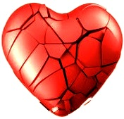 Imagen de un corazón roto o destrozado