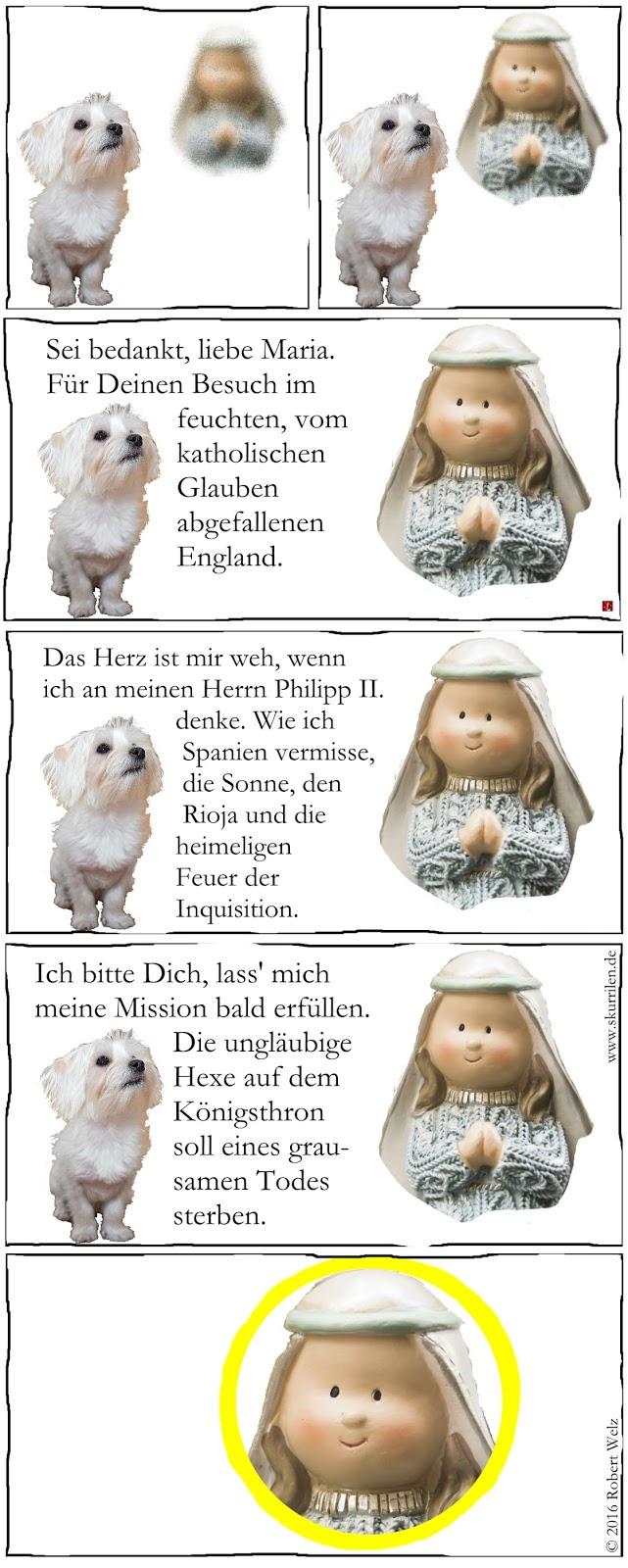 absurde Comedy. Der drollige Malteser Hunde-Welpe hat eine Marien-Erscheinung. Religiöser Wahn oder Realität? Und ist diesem Hundebaby wirklich zu trauen?